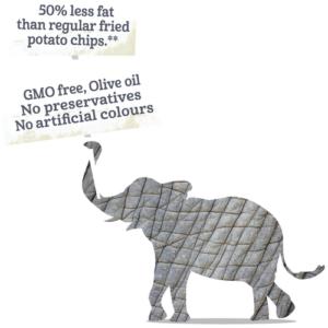 Bazqet olifant 50% minder vet en GMO vrij, olijf olie, geen conserveringsmiddelen, geen kunstmatige kleuren