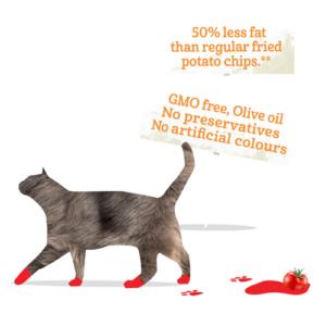 Bazqet kat 50% minder vet en GMO vrij, olijf olie, geen conserveringsmiddelen, geen kunstmatige kleuren