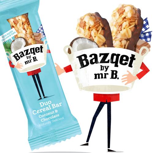 Bazqet Mr B. met Duo Cereal Bar Coconut Chocolate