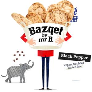 Bazqet Mr B. Black Pepper Rice Chips met olifant