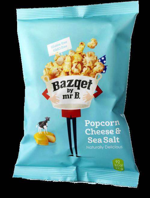 Bazqet Popcorn Cheese Sea Salt verpakking
